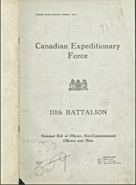 Batallion Roll. Source: Canadian Archives